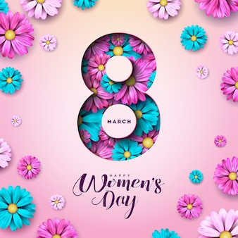 8 march. happy womens day floral greeting card.