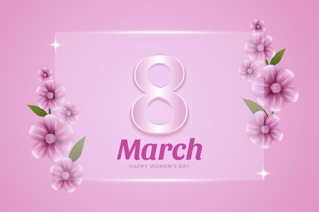 3月8日。幸せな女性の日花のグリーティングカード。