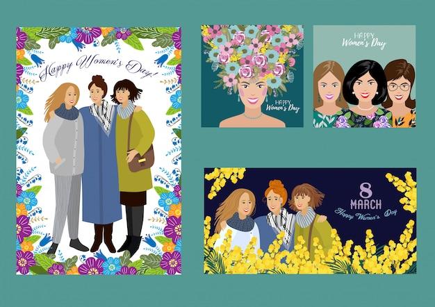 8 марта счастливый женский день. набор шаблонов для горизонтальной, вертикальной и квадратной карты, плаката, флаера