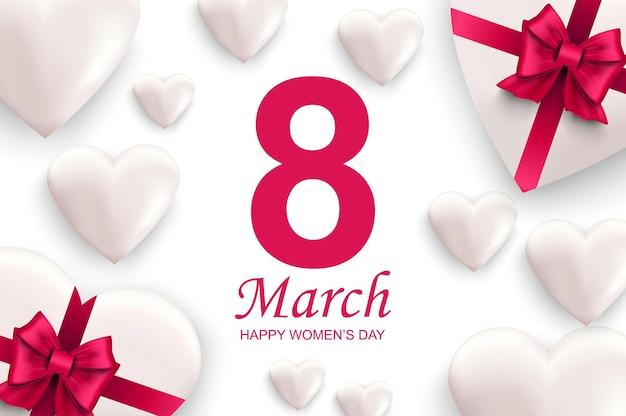 3月8日国際幸せな女性の日の挨拶のデザイン