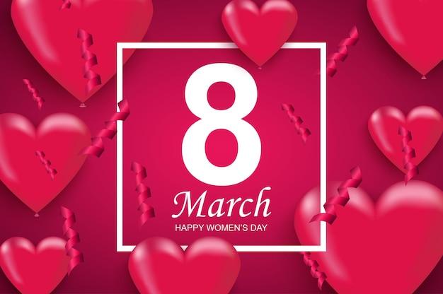 3 월 8 일 국제 행복한 여성의 날 인사말 디자인