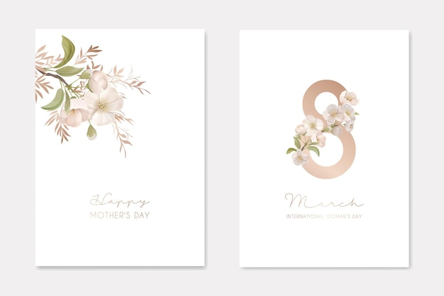 3월 8일 국제 여성의 날과 해피 어머니의 날 우아한 인사말 카드 세트, 봄에 피는 벚꽃 벡터 일러스트와 함께 휴일 축하를 위한 창의적인 디자인 구성