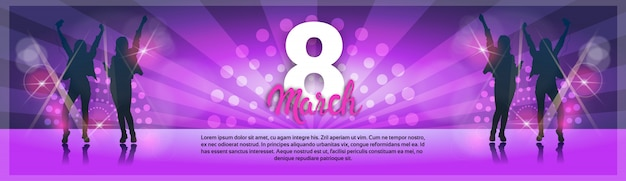 8 march international women day party greeting card