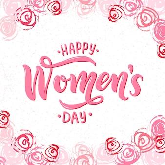 3月8日、国際女性デーのピンクのテキストが白い背景に分離されました。カード、招待状、チラシ、バナーテンプレート。抽象的なブラシストロークのバラ、花で囲まれたレタリングタイポグラフィ女性の日。