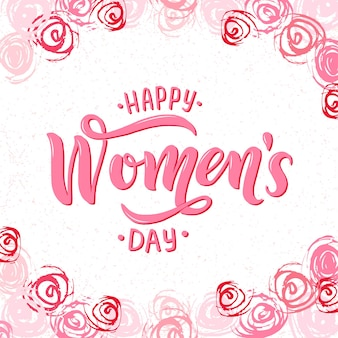 8 march, international women day pink text isolated on white background. card,invitation,flyer,banner template. lettering typography women day framed with abstract brush stroke roses, flowers.