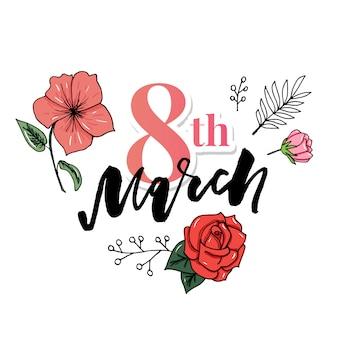 3 월 8 일 국제 여성의 날 인사말 카드.