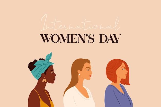 3月8日、国際女性の日。女の子の肖像画。フェミニズム、女性のエンパワーメント運動、姉妹関係のコンセプトデザイン。