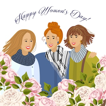 8 march. three womens with garden roses.  templates for card, poster, flyer