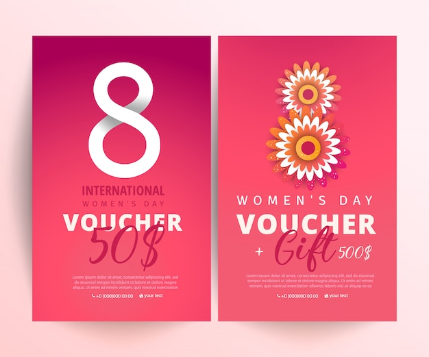 8 march voucher. bright set of gift voucher