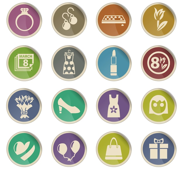 8 march web icons in the form of round paper labels