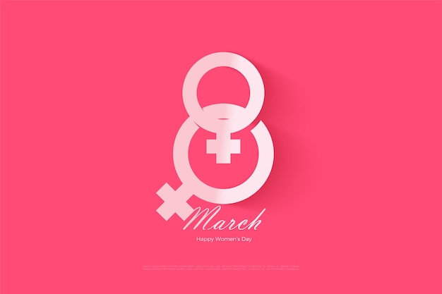 8 march with female symbols forming numbers.