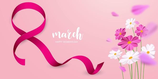 8 марта. с цветком и лентой