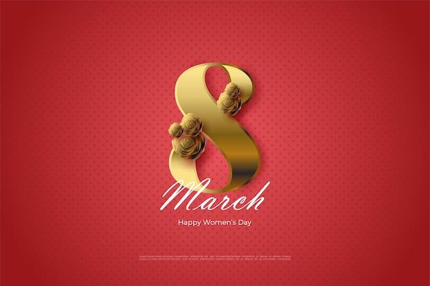 숫자와 황금 장미와 함께 3 월 8 일.