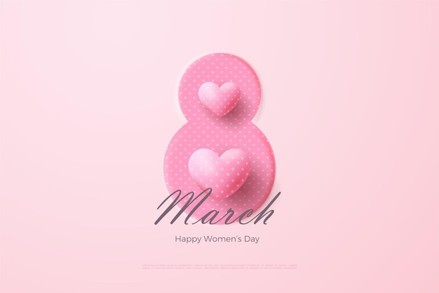 분홍색 숫자와 3d 사랑 풍선으로 3 월 8 일.