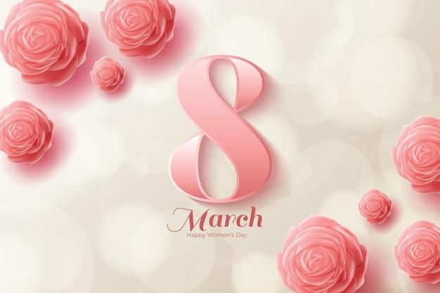 분홍색 숫자와 분홍색 장미로 3 월 8 일.