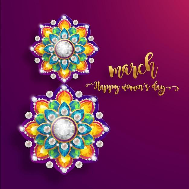 3 월 8 일. 아름 다운 꽃 인사말 카드의 현실적인. 국제 행복한 여성의 날. 프리미엄 벡터