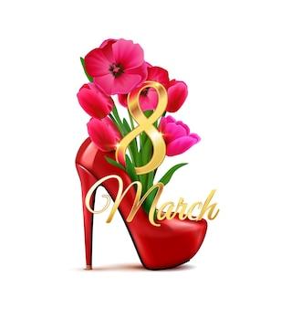 Composizione del giorno della donna dell'8 marzo con l'icona isolata della scarpa del tacco alto con l'illustrazione del mazzo di fiori