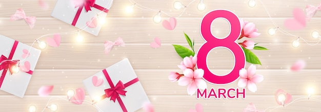 8 march womans day illustration with lights, pink petals and gift boxes illustration