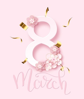 8 march. women day greeting card and luxury text lettering. calligraphy lettering. vector illustration.