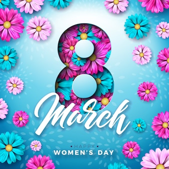 8 march. women's day celebration design with flower and typography letter