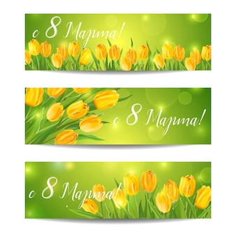 8 march - women's day greeting banners - with colorful tulips - in