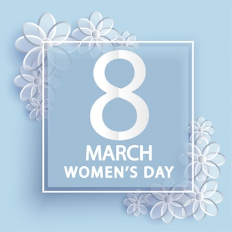 8 march. women's day greeting card. origami floral .
