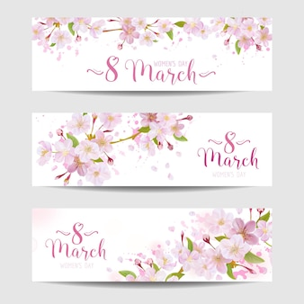 8 march - women's day greeting card template - spring banner - in