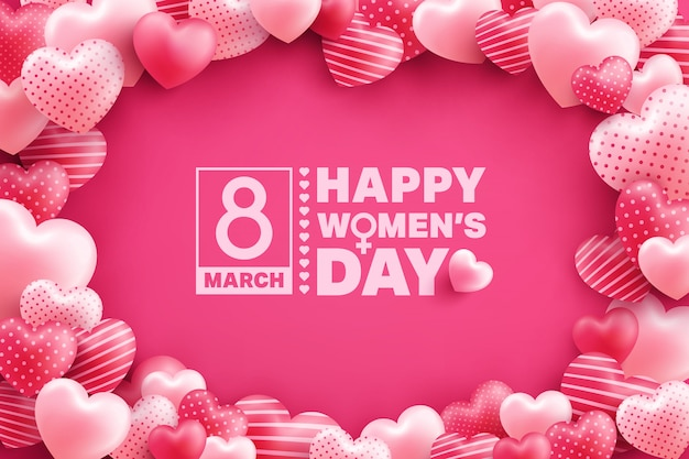 8 march women's day greeting card with many sweet hearts on pink