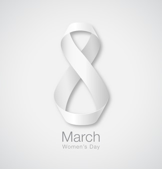 8 march, women's day greeting card with realistic symbol of white ribbon Premium Vector