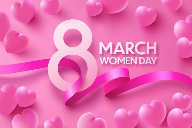 8 march women's day greeting card with sweet hearts and ribbon on pink