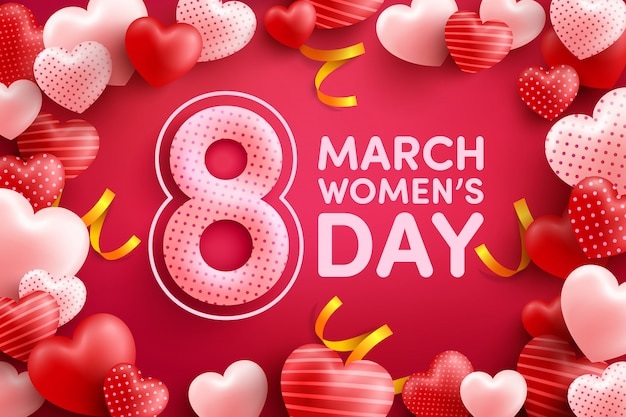 8 march women's day greeting cardr with many sweet hearts on pink