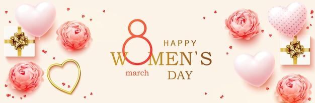 3 월 8 일. 여성의 날 가로.