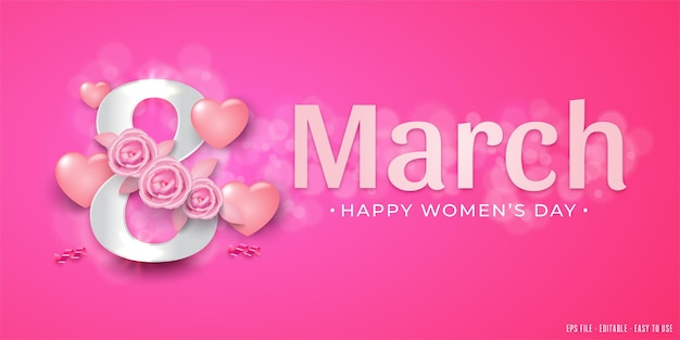 8 march women's day with many sweet hearts