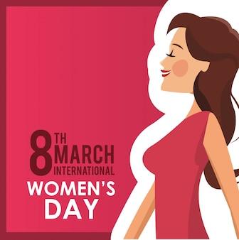 3 월 8 일 여성의 날 카드 소녀