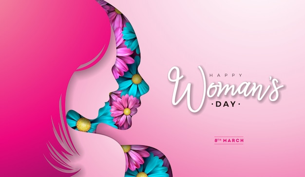 8 march. womens day greeting card with young woman silhouette and flower.