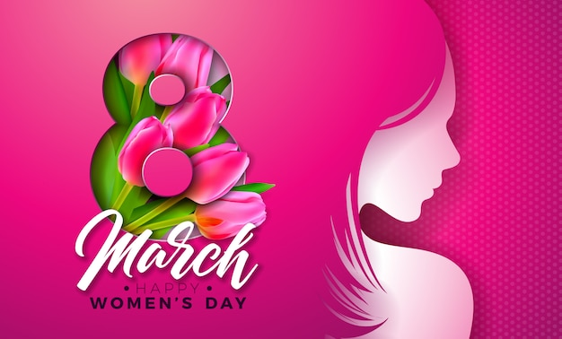 8 march. womens day greeting card with young woman silhouette and tulip flower.