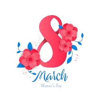 8 number 3d illustration with flowers on white background.