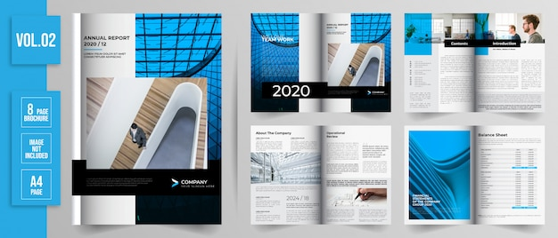 8 page annual report design flat style