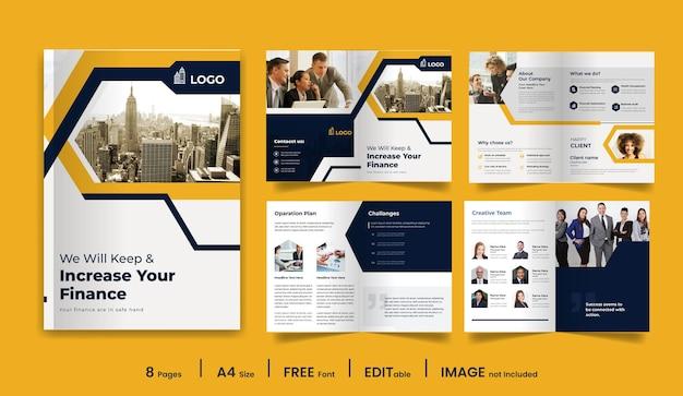 8ページの最小限のビジネスパンフレットのデザインテンプレート