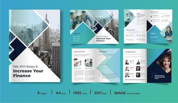 8 페이지 최소한의 비즈니스 브로셔 디자인 서식 파일