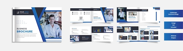 8 page modern corporate landscape brochure clean design with minimal shapes.