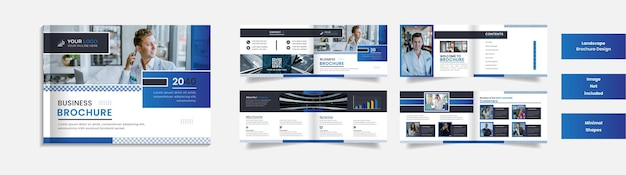 8 page modern corporate landscape brochure design with minimal shapes.