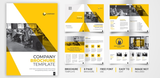 8-страничный желтый черный корпоративный шаблон брошюры