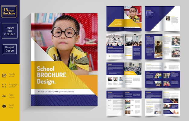 8 pages back to school brochure design for kids