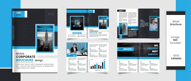 8 pages brochure template design minimal shapes with black and blue color.
