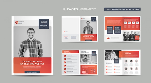 8 pages business brochure design | annual report and company profile | booklet and catalog design template