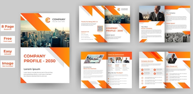 8 pages creative business brochure template design business company profile