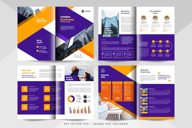 8ページのクリエイティブなビジネスプレゼンテーション、会社概要テンプレート。企業のビジネス小冊子テンプレート。