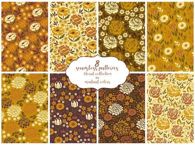 8 бесшовных узоров цветочная коллекция в горчичных тонах.