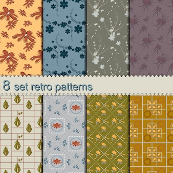 8 set retro flower patterns